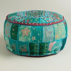 Made of vibrant recycled fabrics with embellishments and Indian patchwork, our exclusive Aqua Suti Pouf is a brilliant extra seating solution. >> #WorldMarket Boho Eclectic