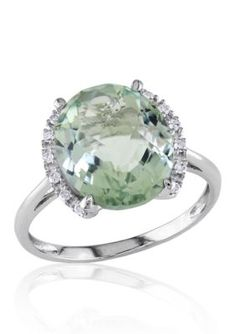 Belk  Co. Green 10k White Gold Green Amethyst and Diamond Ring