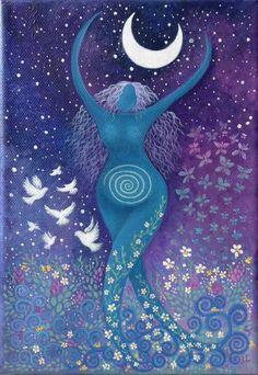 The Divine Feminine Earth Goddess, Goddess Art, Moon Goddess, Fantasy Kunst, Fantasy Art, Painting Inspiration, Art Inspo, Arte Obscura, Pagan Art