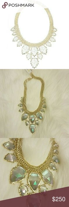 "Kendra scott Statement Necklace Brand new with tags.  Gorgeous gold Necklace with beautiful jewels (crackled crystal glass) that capture the light. Name is Gretchen. 14karat gold plated over brass bib Necklace, 18-20"" with lobster claw Kendra Scott Jewelry Necklaces"