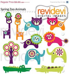 80% OFF SALE Spring Animals Clipart 07497 by revidevi on Etsy
