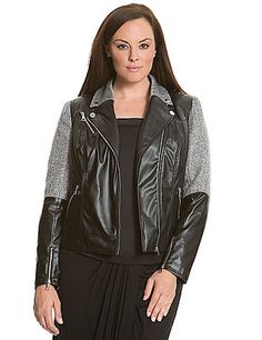 6th & Lane softens the edge of the faux leather moto jacket with metallic boucle for a hot fabric-block motif. Detailed with snapped lapels and asymmetric zipper closure, with zipped cuffs and pockets to complete the look. Fully lined. lanebryant.com
