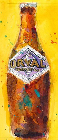 Orval Trappist Ale Beer Watercolor Belgium Beer Art by dfrdesign