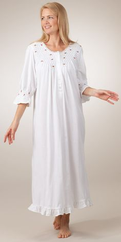 Smocked Cotton Knit Long Nightie in White with Red Rosettes Pregnancy Wear, Maternity Wear, Night Suit, Night Gown, Modest Fashion, Fashion Dresses, Cotton Nighties, Nightgowns For Women, White Maxi
