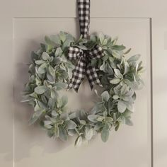 Add a touch of farmhouse style to your fall front door with this faux lamb's ear wreath. Finish your DIY lamb's ear wreath with a classic buffalo check bow or customize it with your favorite ribbon. This lasting handmade wreath will enhance your entr Fall Wreaths, Christmas Wreaths, Christmas Decorations, Floral Wreaths, Mesh Wreaths, Summer Door Decorations, Christmas Stairs, Christmas Crafts, Diy Fall Wreath
