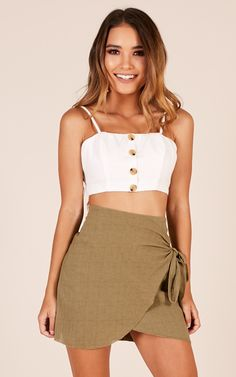 Showpo Not Happening skirt in khaki - 6 (XS) Skirts Summer Work Outfits, Trendy Outfits, Cute Outfits, Fall Outfits, Cute Skirts, Mini Skirts, Girl Fashion, Fashion Outfits, Romantic Outfit