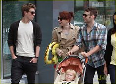 Bryce Dallas Howard and her husband Seth Gabel take their son Theodore, 2, for a walk through Vancouver, Canada