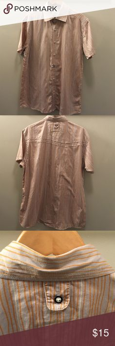 Men's short sleeve button up shirt Cabral brand, orange and grey, good condition. It has an accent button on the front and on the back. cabral Shirts Casual Button Down Shirts