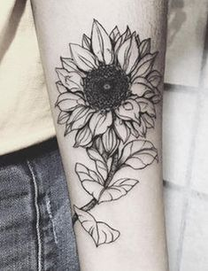 Awesome 59 Cool Black and White Sunflower Tattoo Ideas You With to Have. More at https://aksahinjewelry.com/2017/08/15/59-cool-black-white-sunflower-tattoo-ideas/
