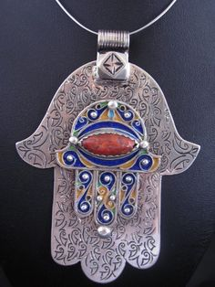 Africa | Silver and Enamel Fatima Hand pendant from the Anti Atlas region of South Morocco.