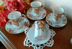 Antique Set of 4 Hand Painted Morimura Nippon Tea Cups with 3