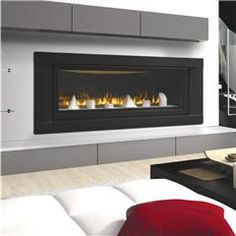 Gorgeous contemporary design for a gas fireplace! Napoleon LHD50 w/ geo shapes