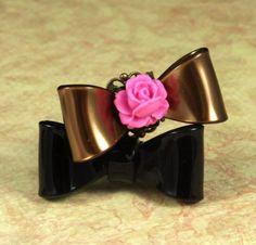 Petite Rose on Brown Bow Tie Ring  Filigree by SeventhFloorDesign