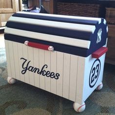 Hand-painted Yankees toy chest