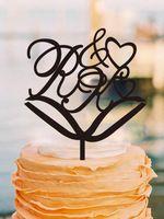 Incrível Wedding Cake Topper Decoração Do Casamento Do Vintage Personalizado Iniciais do Projeto Do Bolo de Coco Do Bolo de Aniversário de Casamento Casamento