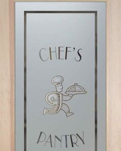 glass pantry doors chef running with platter etched glass pantry door & Chefu0027s Hat u2013 Frosted Glass (close up) | Pantry Doors | Pinterest ...