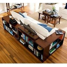 Wrap the couch in bookcases instead of end decorating house design interior design home design Home Living Room, Living Spaces, Small Living, Apartment Living, Sweet Home, Diy Casa, Home And Deco, Home Fashion, Interiores Design