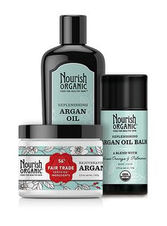 Argan Oil Essentials Set   Argan Oil, Argan Balm & Argan Butter  The Argan Oil Essentials Set replenishes, smooths, soothes, and evens out skin — face and body. Packed with nutrient-rich argan oil, coconut oil, and shea butter, plus vitamins and antioxidants. The set includes fast-absorbing, intensely hydrating Argan Oil Balm, Organic Argan Oil, and Rejuvenating Argan Butter. A $55 value.
