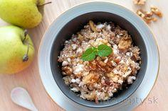 Sladký kuskus na spôsob jablkovo-tvarohovej štrúdle Acai Bowl, Smoothie, Oatmeal, Sweet Treats, Food And Drink, Healthy Recipes, Vegan, Breakfast, Fitness