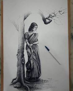 Click the image, for more art from Meher. Black Pen Sketches, Black Pen Drawing, Easy Drawings Sketches, Girl Drawing Sketches, Sketch Painting, Pen Drawings, Charcoal Drawings, Detailed Drawings, Creative Sketches