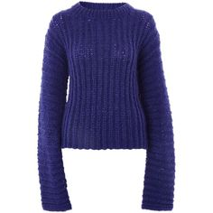 Extreme Long Sleeve Knitted Jumper by Boutique (€98) ❤ liked on Polyvore featuring tops, sweaters, wool sweaters, blue top, woolen sweater, topshop tops and topshop jumpers