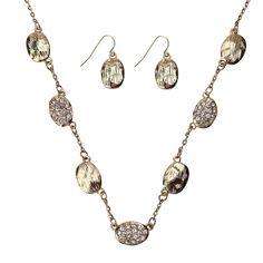 Elegant Gold Oval Necklace Set  #Inspiredsilver #sale