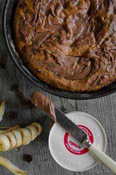 Nutella Swirled {Chocolate Chunk} Peanut Butter Banana Skillet Cake   The Gastronomic BONG
