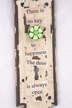 Escutcheon Plate Door Hardware Assemblage Art  Key To Happiness