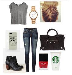gray tee + distressed dark denim + big black purse + black ankle boots