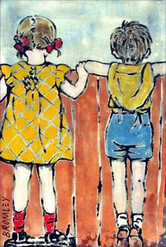 DAVID BROMLEY Children Series Over The Fence Polymer Painting 80cm x 60cm