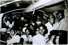 Apartheid: All-black trains, Johannesburg 1966–7, by Ernest Cole. Museum no. E.71-2003, Given by John and Judith Hillelson, © Estate of Ernest Cole