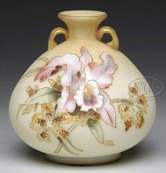 Mt Washington Crown Milano Handled Vase with Orchid Decoration -5 3/4 inch HOA