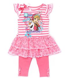 This Pink 'Anna and Olaf' Tunic & Leggings - Toddler & Girls by Frozen is perfect! #zulilyfinds