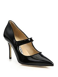 Manolo Blahnik Campari Patent Leather Mary Jane Pumps