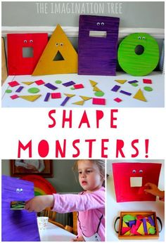 Feed the hungry shape monsters game! Fun preschool or kindergarten math game. - Feed the Hungry Shape Monsters Sorting Game - The Imagination Tree Kindergarten Math Games, Preschool Classroom, Preschool Learning, Preschool Crafts, Learning Activities, Toddler Learning, Maths Eyfs, Science Crafts, Kindergarten Decoration