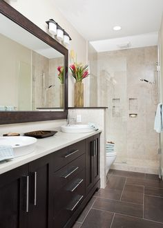 Long and Narrow guest bath eclectic bathroom - Small narrow bathroom remodel Dark Brown Bathroom, Long Narrow Bathroom, Small Bathroom, Serene Bathroom, Beige Bathroom, Neutral Bathroom Colors, Spa Master Bathroom, Master Bedroom, Shared Bathroom