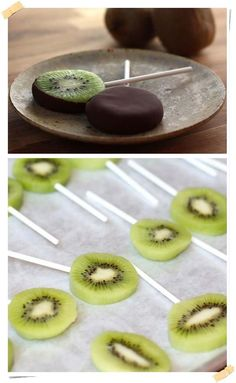 yumm how delicious chocolate kiwi Healthy Sweet Treats, Healthy Fruits, Good Food, Yummy Food, Delicious Chocolate, Food Presentation, Tasty Dishes, Sweet Recipes, Food And Drink