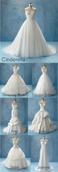 disney princess -  wedding dresses...Love them all! I remember deciding which princess we each were last year! lol Jordyn= Belle, Cosette= Cinderella, and I was Sleeping Beauty <3