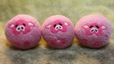 3 Wool Dryer Balls, Pigs, Pink, Set of 3, Eco Friendly, Natural, Farm Animals