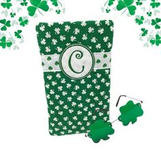 Check out Monogram Shamrocks Glasses Case Irish Gifts St Patricks Day Gift Green Shamrock Fabric Eyeglass Holder Sunglasses Case Gifts for Her on sewsationalstitches