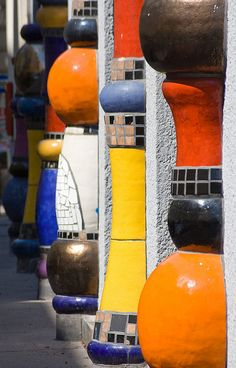Love this photo of Hundertwasser columns