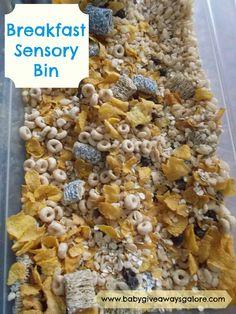 Baby Giveaways Galore: Breakfast Sensory Bin For Kids Childcare Activities, Sensory Activities, Activities For Kids, Sensory Boxes, Sensory Table, Baby Giveaways, Nursery Crafts, Tuff Spot, Baby Sensory Play