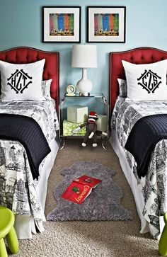 Little Boys Room. Shared room. Monograms helpful for bed ID!