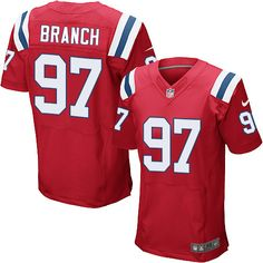 NFL New England Patriots Alan Branch Mens Elite Alternate Red #97 Jersey
