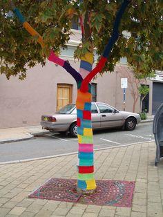 Guerilla Knitting / Yarn bombing outside the Wild Poppy Cafe | Flickr - Photo Sharing!