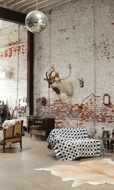 Usually the living room interior of the exposed brick wall is rustic, elegant, and casual. Exposed brick wall will affect the overall look of your house more appreciably. Industrial Interiors, Rustic Industrial, Rustic Interiors, Industrial Living, Rustic Loft, Industrial Stairs, Industrial Windows, Industrial Apartment, Industrial Bedroom