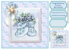"""New Baby Boy Booties by Tracey Drage-Baillie This is an 8"""" x 8"""" quick card topper for you to print, cut & adhere to a card base of your…"""