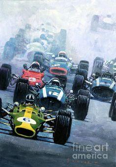 Dutch GP 1967 Zandvoort  #6 Graham Hill Lotus 49  #12 Johen Rindt Cooper Maserati  #3 Chris Amon Ferrari 312  #9 Jackie Stewart BRM H 16  #14 Pedro Rodriguez Cooper Maserati  acrilic on canvas  100 x 70 cm  2014  www.shevchukart.com