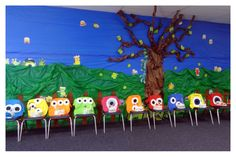 Monsters party decorations. Each child made their own monster shirt and hat to wear.