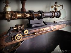 Handmade steampunk rifle made from vintage and by LaBoutiqueVapeur, $1,375.00